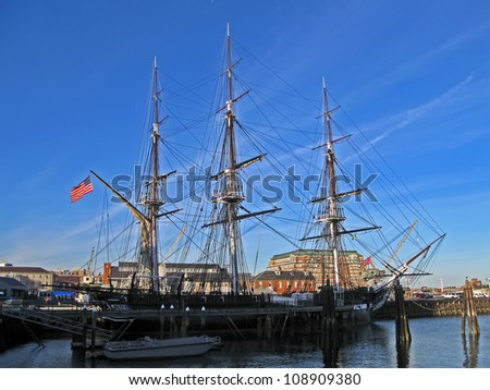 BOSTON - APRIL 21: The USS Constitution is the world's oldest commissioned naval vessel afloat anchoring in Boston (Massachusetts) on April 21, 2012 in Boston, USA.