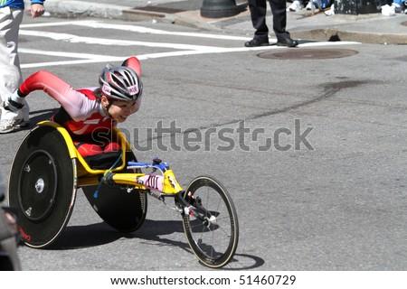BOSTON - APRIL 19:  Wakako Tsuchida (JPN)  participates in the Wheelchair Boston Marathon on April 19, 2010 in Boston, MA.  Including this race, she is a four-time champion.