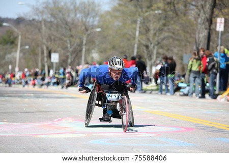 BOSTON - APRIL 18 : Wheelchair and Handcycle Racers participated in the Boston Marathon on April 18, 2011 in Boston.