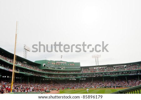 Boston - August 8: The oldest MLB ballpark currently in use, historic Fenway Park, home of the Boston Red Sox on August 8, 2011 in Boston, Massachusetts.