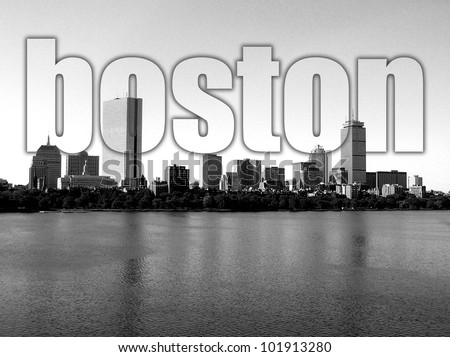 Boston Back Bay skyline along the Charles River (with text).