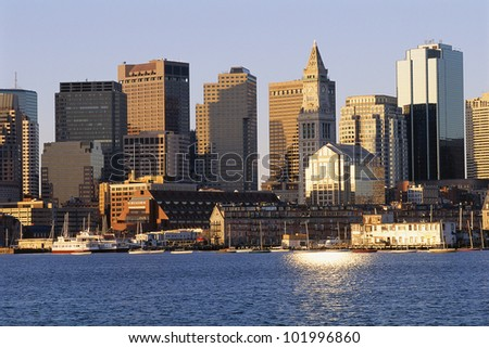 Boston buildings in early morning sunlight