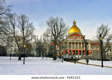 Boston Capital Building -  snowing winter at Boston, Massachusetts, USA