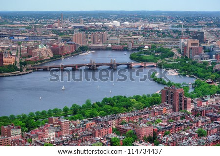 Boston Charles River aerial view with buildings and bridge.