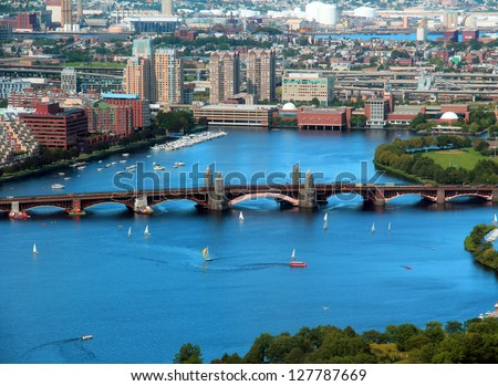 Boston Charles River aerial view with buildings and bridge on a beautiful sunny day