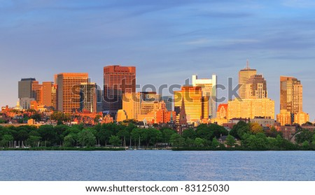 Boston Charles River sunset with urban skyline and skyscrapers - stock photo