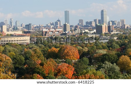 Boston City including Harvard stadium in the fall