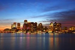 Boston City Skyscrapers, Custom House and Boston Waterfront at night from East Boston, Boston, Massachusetts MA, USA