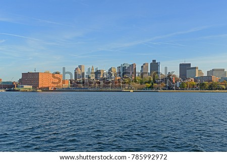 Boston City Skyscrapers, Custom House, Old North Church and Boston Waterfront from Charlestown Navy Yard, Boston, Massachusetts, USA.