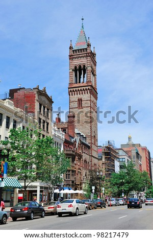 Boston city street view with traffic and historical architecture.