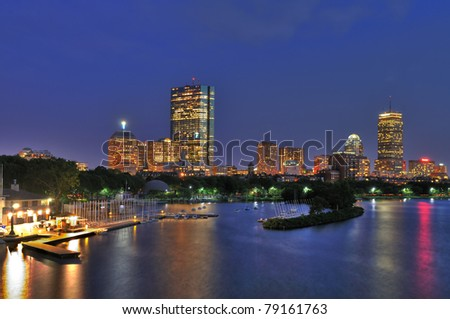 Boston Cityscape and Charles River at Dusk - stock photo
