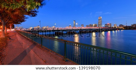 Boston Cityscape and Harvard Bridge at Night