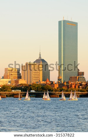 Boston cityscape and sailboats on Charles River