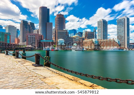 boston cityscape in sunny day ...