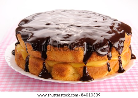 Boston cream pie with chocolate glazing
