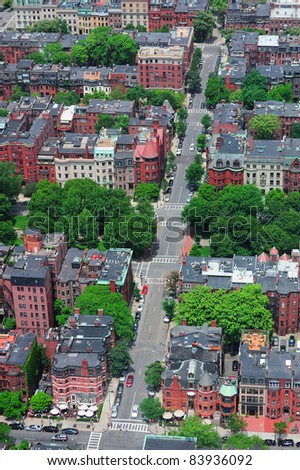 Boston downtown aerial view with historical architecture, street and city skyline. - stock photo