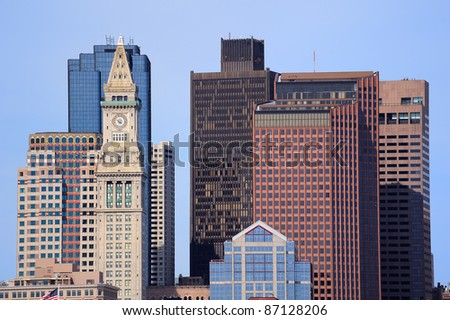 Boston downtown city skyline with urban and historical architecture.