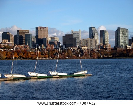 Boston Downtown View with Boats