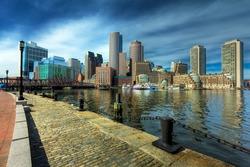 Boston Financial District in Massachusetts - USA. View of the Boston Harbor.