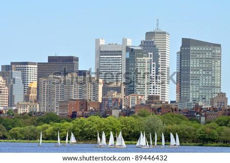 Boston financial district skyline across Charles river, Boston, Massachusetts, USA