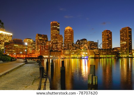 Boston Harbor and Cityscape at Night
