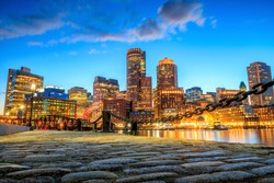 Boston Harbor and Financial District at twilight, Massachusetts.