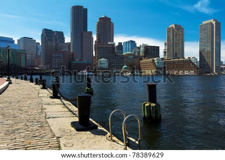 Boston Harbor and Financial District in  Massachusetts, USA.