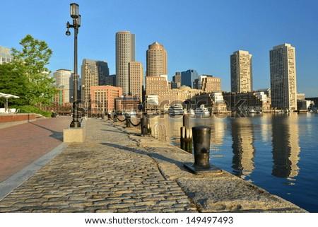 Boston Harbor and Financial District's skyline, Boston, MA, USA