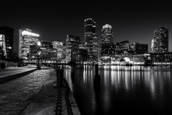 Boston Harbor at night in Black and White. Massachusetts, USA.