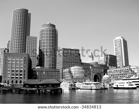 Boston Harbor including Rowes Wharf.