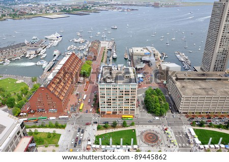 Boston Harbor, Long Wharf and Christopher Columbus Waterfront Park Aerial view, Boston, Massachusetts, USA