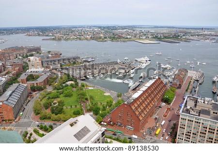 Boston Harbor, Long Wharf and Christopher Columbus Waterfront Park, Boston, Massachusetts, USA - stock photo