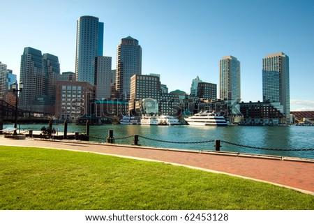 Boston Harbor skyline in the afternoon. Massachusetts - USA.