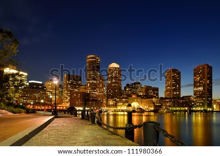 Boston Harbor Walk and Financial District at Twilight