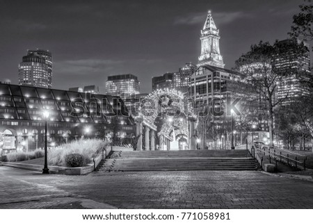 Boston in Massachusetts, USA at night at the North End Facing the Financial District. #771058981