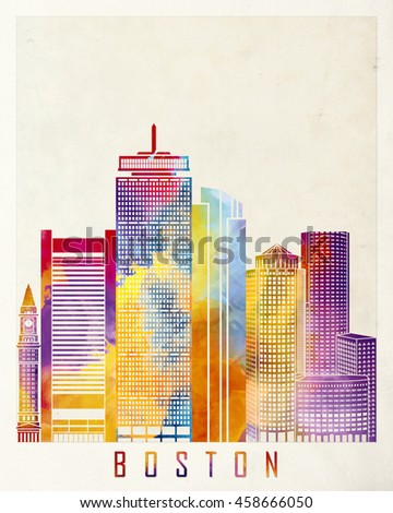 Boston landmarks watercolor poster