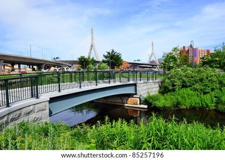Boston Leonard P. Zakim Bunker Hill Memorial Bridge and North Point Park.