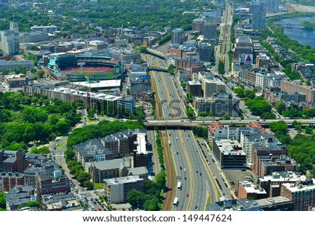 BOSTON, MA - JULY 4: Aerial view of Fenway Park on July 4, 2013 in Boston, Massachusetts. Fenway Park is the home of the Boston Red Sox baseball club since 1912. It can sit less than 40000 spectator