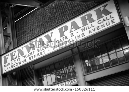 BOSTON, MA - JULY 20: The Fenway Park Stadium in Boston, MA, home of the Red Sox  team, is the oldest baseball stadium still in use in the USA built in 1912 as seen on July 20, 2013.