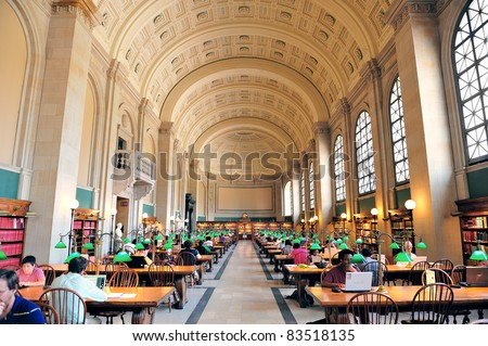 BOSTON, MA - JUN 20: Boston Library interior on June 20, 2011 in Boston, MA. The Boston Public Library is the first publicly supported municipal library in US with collection of 8.9 million books.