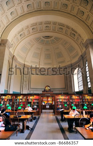 BOSTON, MA - JUN 20: Boston Library interior on June 20, 2011 in Boston, Massachusetts. The Boston Public Library is the first publicly supported municipal library in US with 8.9 million collection. - stock photo
