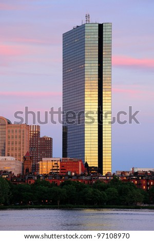 BOSTON, MA - JUN 19: Hancock tower over river on June 19, 2011 in Boston, Massachusetts. It has been the tallest building in Boston for more than 30 years, and is the tallest building in New England.