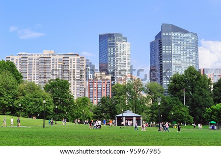 BOSTON, MA - JUN 18: People play games in Boston Common on June 18, 2011, Boston, Massachusetts. It is the oldest city park in the US and was declared a U.S. National Historic Landmark in 1987. - stock photo