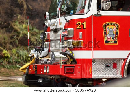 BOSTON, MA, USA - APR 19, 20015: The detail on the front of a Fire Engine at a response to a fire alarm. Boston, MA.