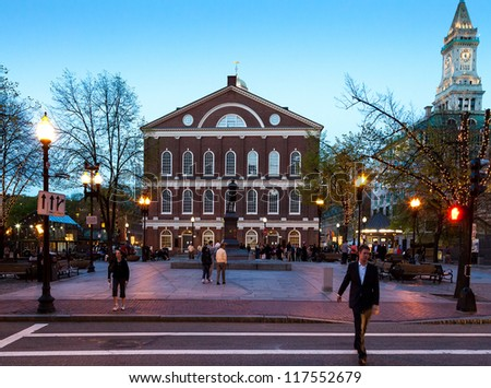 BOSTON, MA, USA - OCTOBER 24: Market place and meeting hall since 1742, the Faneuil Hall was the site of speeches by Samuel Adams and James Otis. Seen at dusk on October 24, 2012 in Boston, MA, USA. - stock photo