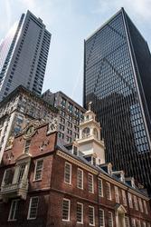 Boston, MA, USA Old State House downtown financial district Oldest surviving public building Boston Massacre