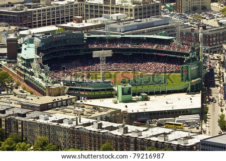 BOSTON, MASSACHUSETTS-JUNE 14:  Aerial view of the Fenway Park Stadium in Boston on June 14, 2011 during an important game of the Red Sox Baseball team.