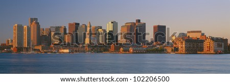 Boston, Massachusetts skyline at sunrise