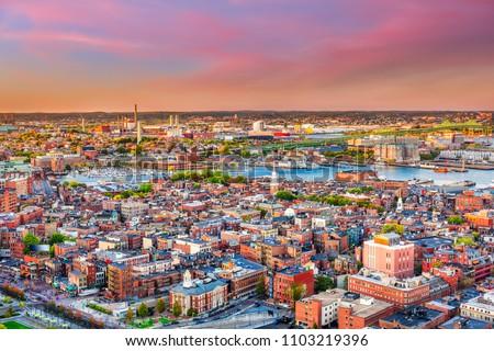 Boston, Massachusetts, USA cityscape over North End.