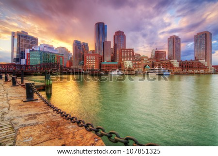 Boston, Massachusetts, USA downtown skyline.